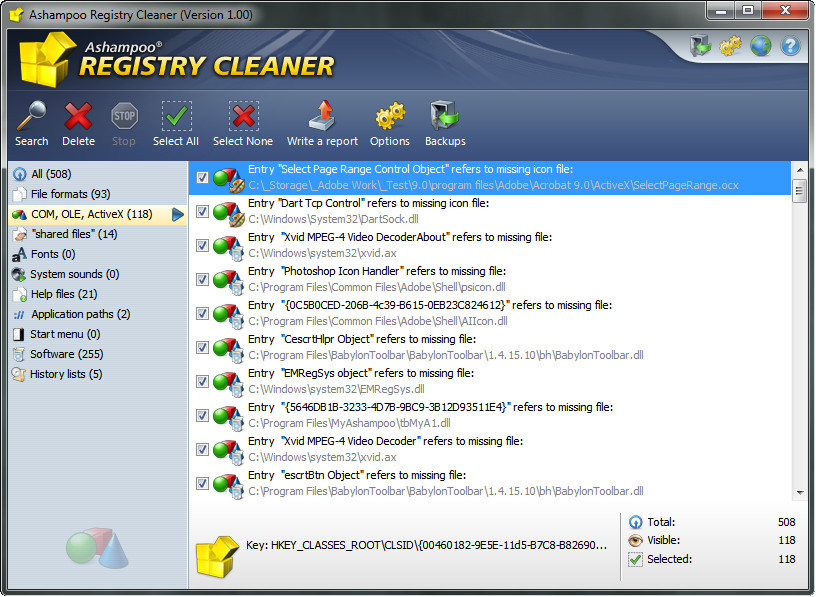 Ashampoo Registry Cleaner 1.00 full