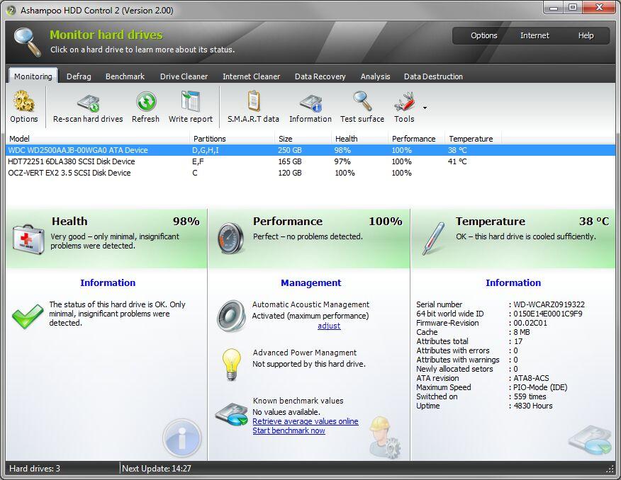 Ashampoo HDD Control 2 - 硬盘监控软件