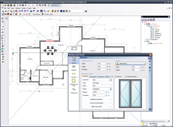 Window contruction Windows home design software