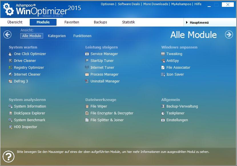 src ashampoo winoptimizer 2015 de module - Ashampoo WinOptimizer 2015 - Tuning für Ihren PC! Kostenlos
