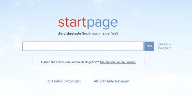 Startpage ist Google ohne Neugier
