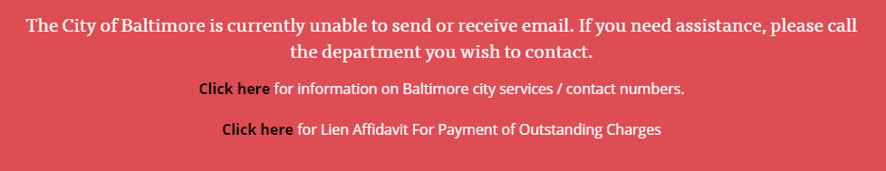 Warnung auf der Seite der Stadt Baltimore