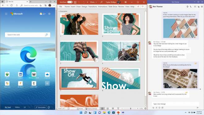 Neatly arranged windows with snap layouts