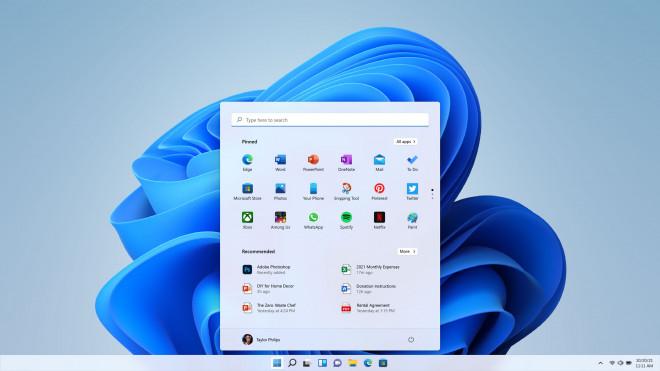 The new centered start menu