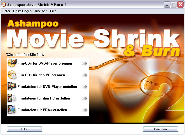 Screenshot vom Programm: Ashampoo Movie Shrink & Burn 2