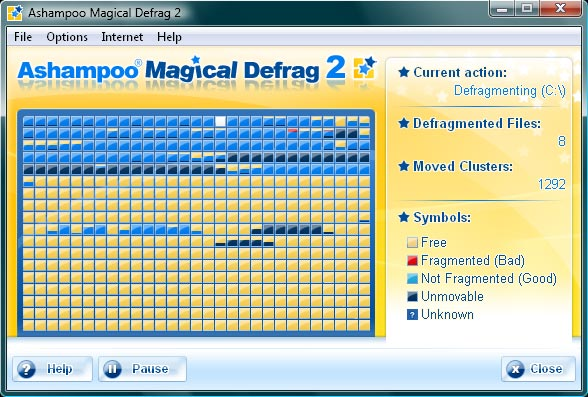 Click to view Ashampoo Magical Defrag 2 2.30 screenshot