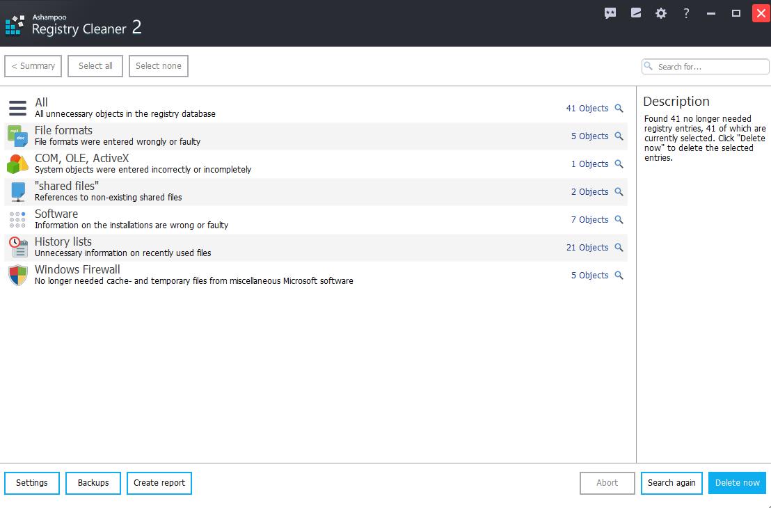 Ashampoo Registry Cleaner 2 screenshot