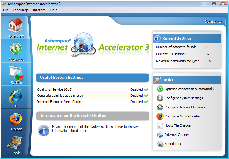 Click to view Ashampoo Internet Accelerator 3.20 screenshot