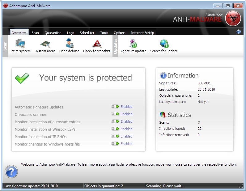 Click to View Full ScreenshotAshampoo Anti-Malware 1.21 screenshot