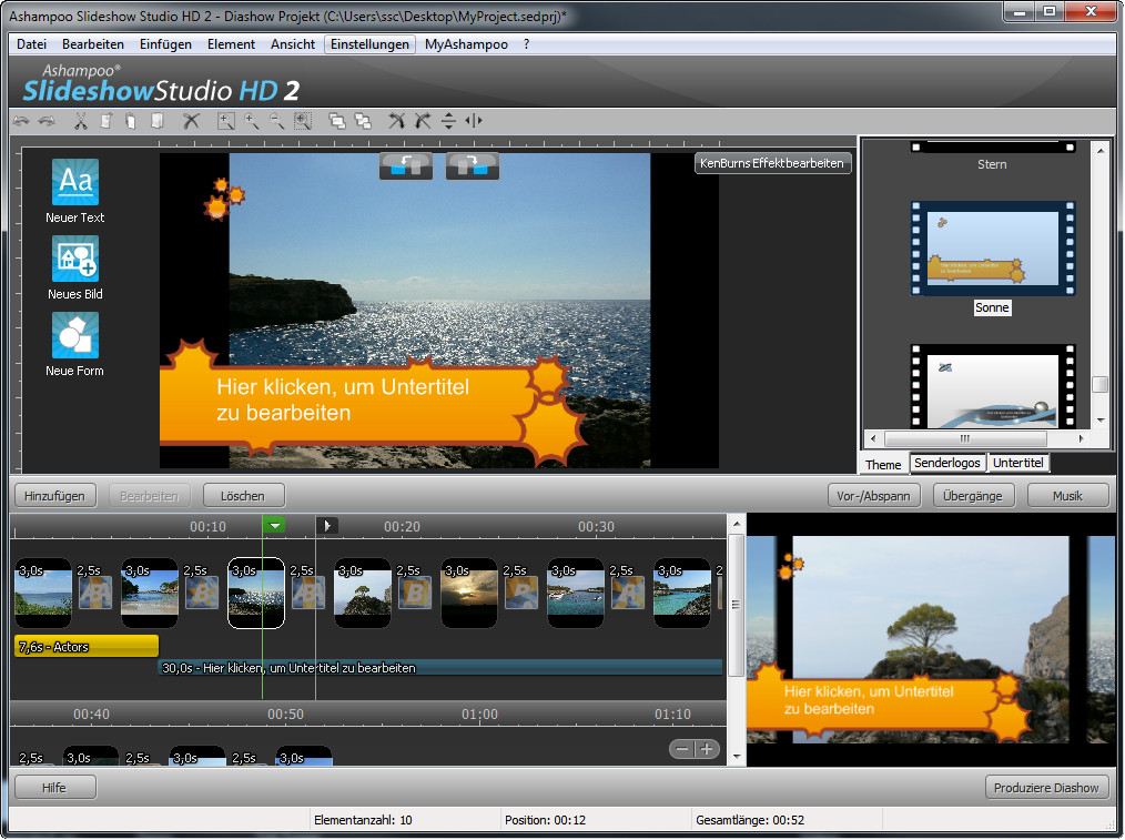Screenshot vom Programm: Ashampoo Slideshow Studio HD 2