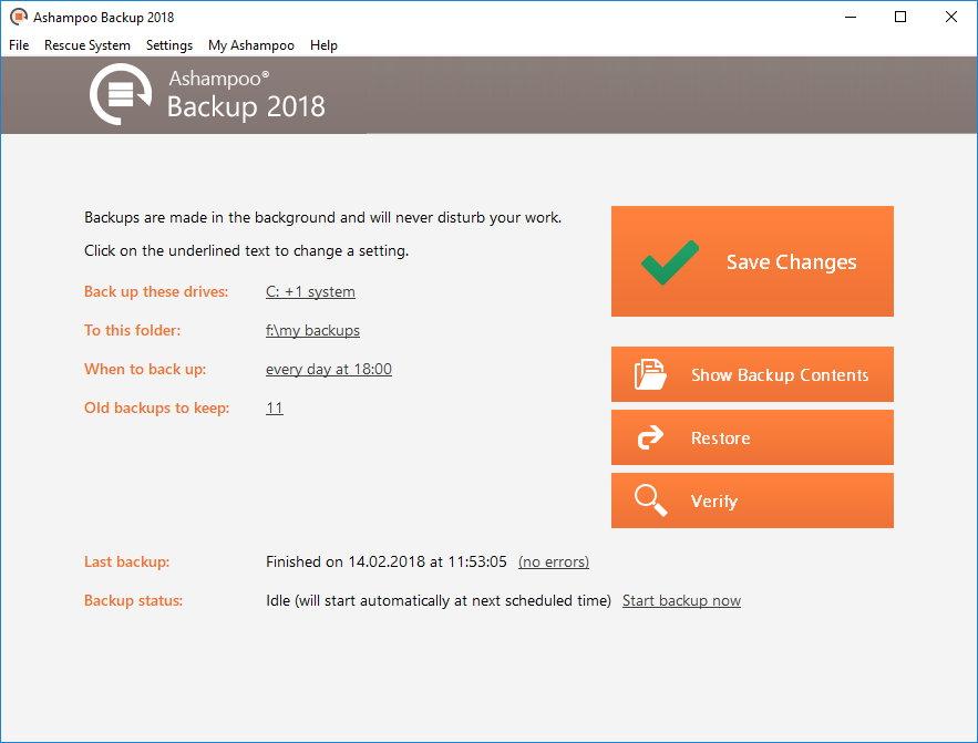 Ashampoo Backup 2018 Screenshot
