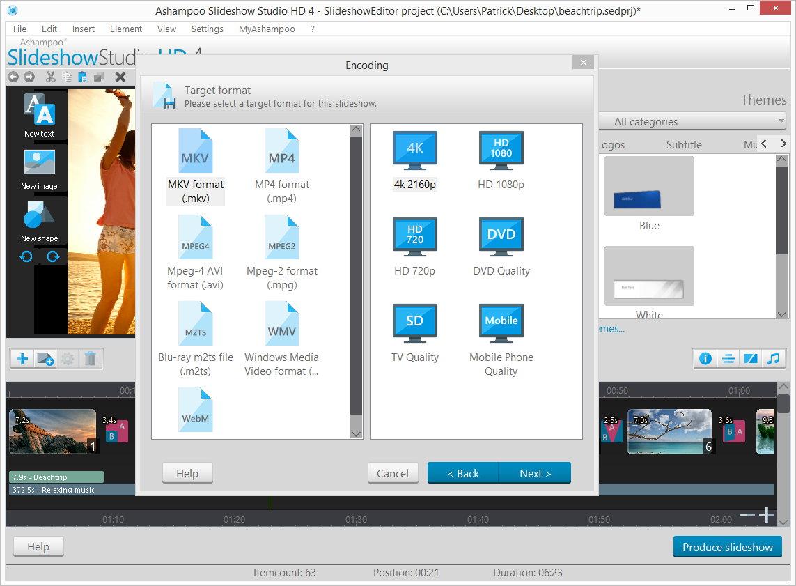 برنامج انشاء شرائح لعرض الصور, برنامج مميز لتصميم عروض لصورك, برنامج Ashampoo Slideshow Studio HD 4.0.0.58