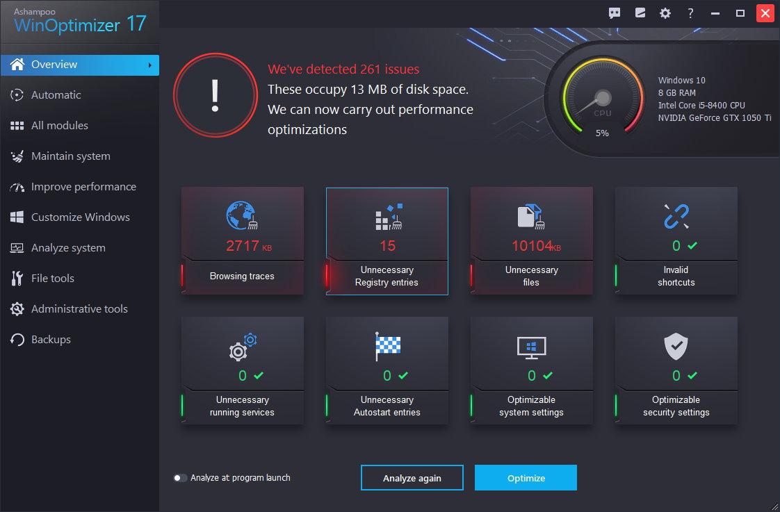 Ashampoo WinOptimizer 17 – Best Optimization Software & Registry Cleaner
