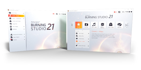 Burning Studio 21 - menus