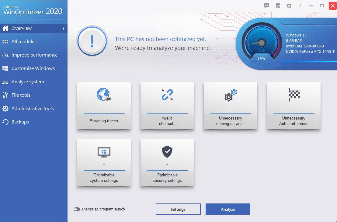 Ashampoo WinOptimizer 2020 screenshot