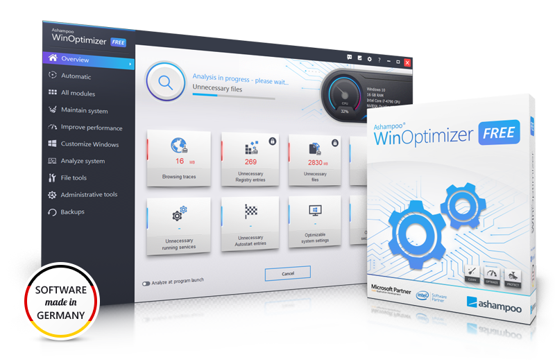 Screenshot Ashampoo® WinOptimizer FREE