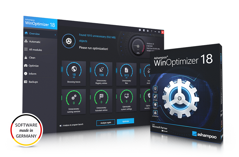 Ashampoo® WinOptimizer 18 Box & Screenshot